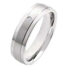 Men's Crucible 0.02 CT. T.W. Round Cut Diamond Stud Bezel Set Ring in Titanium (H-I-SI2), Size: 12, Silver