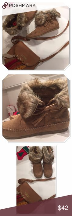 Madden girl tan suede moccasin boots faux fur Cutest suede booties! Very soft Faux suede that feels real. Great quality of the faux fur. Run true to size. Wear them with skinny jeans or legging. Would also look very cute with your sweater dresses and skirts! Comfortable and stylish - perfect combo for the ❄️ winter. New never worn, I just don't have original box. Madden Girl Shoes Ankle Boots & Booties