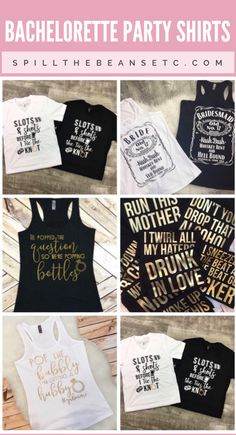 Bachelorette Party shirts for girl's night / weekend before the big day. Bridal party tees / custom tanks / Vegas party / slumber party / funny shirts. Unique and trendy bachelorette party tees.
