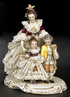 Germany, A Dresden Lace porcelain figural group, circa 1910, by Ackermann & Fritze, Volkstedt (active 1908 to 1952), depicting a young mother guiding her son and daughter.