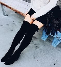 #cute #pumps //  Black Velvet OTK Boots
