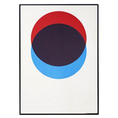 LANE CIRCLES RED AND BLUE FRAMED SCREEN PRINT