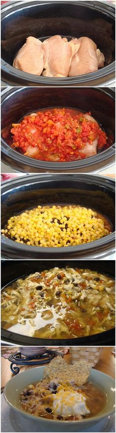 Crockpot Tortilla Soup 3-4 boneless, skinless chicken breasts 2 small cans Ro-Tel (I use the Original flavor.) 1 15 oz. can Bush's Beans black beans, (*drained and rinsed*) 1 can corn 2 cans chicken broth Place chicken in bottom of crockpot. Season with salt and pepper. Add Ro-Tel, beans, corn, & chicken broth. Cover and cook on Low for 10-12 hours or on High for 6 hours. Shred chicken and return to crockpot! Serve with shredded cheese, sour cream, and tortilla chips!!