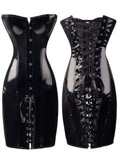 46e1965801c48 Plus Size Burlesque Women s Lace Up Faux Leather Corset Party Bondage Dress  6-16 Vestido
