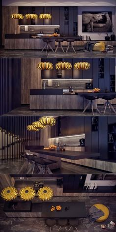 This kitchen tends towards the darker side when it comes to color palettes, but its the creative lighting fixtures that really set it apart.