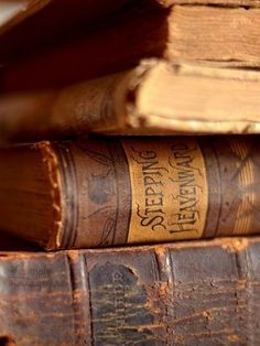 Always love old books, but this particularly appeals to me because I can see the spin of one of my favorite books, Stepping Heavenward by Elisabeth Prentice. Old Books, Antique Books, Vintage Books, I Love Books, Books To Read, Book Libros, Leather Books, Book Aesthetic, Book Nooks