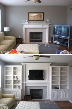 5 Aligned Clever Hacks: Living Room Remodel With Fireplace Products small living room remodel benjamin moore.Livingroom Remodel Beautiful small living room remodel with fireplace.Living Room Remodel Before And After Awesome. Tv Over Fireplace, Fireplace Built Ins, Living Room With Fireplace, Fireplace Design, Fireplace Ideas, Small Fireplace, Fireplace Wall, Fireplace Makeovers, Fireplace Remodel