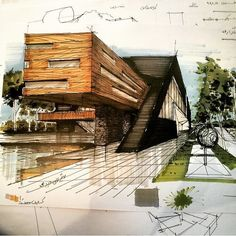 Contemporary and Modern Architecture - Architecture Sketch / Drawing - . - Contemporary and modern architecture – Architecture Sketch / Drawing – – – # - Architecture Design, Architecture Drawing Sketchbooks, Architecture Concept Drawings, Architecture Board, Architecture Colleges, Sustainable Architecture, Landscape Architecture, Exterior Design, House Design