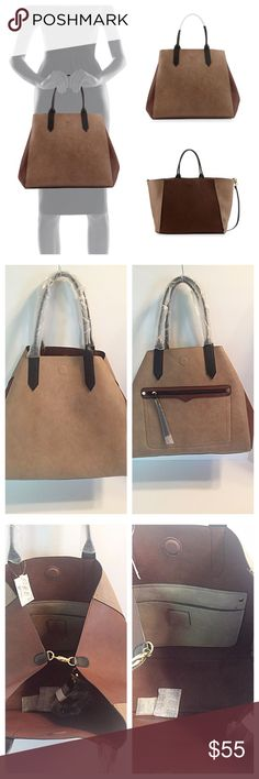 """Neiman Marcus Tri-Color REVERSIBLE Tote NEW! Like having two totes in one! Great for travel!   Brand new and sold out! Reversible Tricolor Tote Bag, Taupe/Chocolate/Black faux-leather (polyurethane) reversible tote bag. Rolled top handles; removable shoulder strap. Exterior front zip pocket. Lobster clasp gathers in sides forming A-shape body. Magnetic clasp closure. Inside: roomy slip pocket. 13""""H x 20""""W x 8.5""""D. Neiman Marcus Bags Totes"""