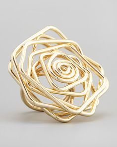 Twisted Wire Flower Ring, Gold by Panacea at Neiman Marcus.