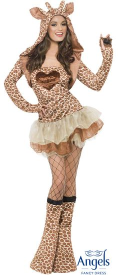 The Fever Giraffe with Tutu packet includes a tutu Dress with giraffe print and velveteen heart. The straps are adjustable/ removable. Also included are boot covers, cropped bolero jacket with hood and attached horn and ears. http://www.fancydress.com/costumes/Fever-Giraffe-with-Tutu/0~4502177