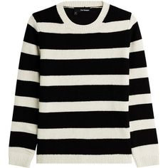 The Kooples Wool-Blend Striped Pullover found on Polyvore featuring tops, sweaters, shirts, jumpers, long sleeves, stripes, striped sweater, black striped shirt, black long sleeve shirt and long sleeve shirts