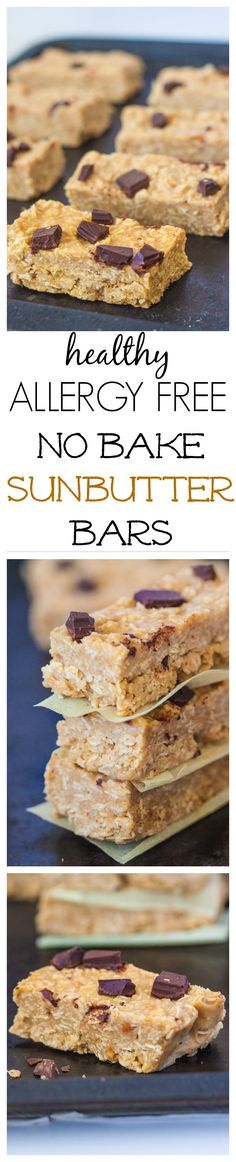No Bake Sunbutter Bars- A delicious, allergy friendly granola bar which requires 1 bowl and 10 minutes to whip up! The perfect snack to tide you over between meals- Gluten free and vegan too. Allergy Free Recipes, Vegan Recipes, Snack Recipes, Dessert Recipes, Sin Gluten, No Bake Bars, Granola Bars, Healthy Desserts, Healthy Treats