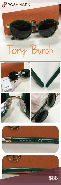 Tory Burch TY 6042Q Round Sunglasses Green and gold frames with green/white braided leatherette accent. These have solid black lenses. Excellent condition. Not a scratch, no bite marks. Includes case and micro pouch! Better bundles when you purchase 3 or more items! Did I forget anything? If so, just tag me and ask!  Tory Burch Accessories Sunglasses