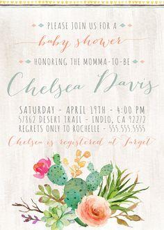 Baby Shower Invitation, Desert, Cactus, Festival, Boho Baby Shower Invites by DesignAndDonuts.etsy.com