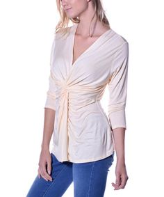Another great find on #zulily! Vanilla Front-Knot V-Neck Top #zulilyfinds