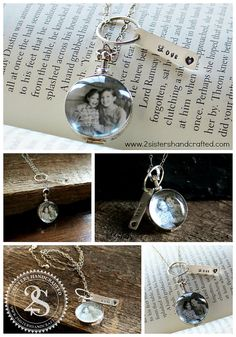 Antique Glass Picture Locket With Personalized Hand Stamped Sterling Charm by 2sistershandcrafted www.2sistershandcrafted.com