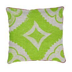 bonnie and neil Hand screen printed linen cushion Dahlia Green