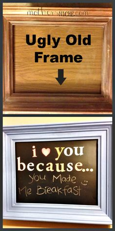 "Love You Because."" ""I Love You Because."" Turn an old frame into a fun way of showing your love and appreciation to your kids or spouse""I Love You Because."" Turn an old frame into a fun way of showing your love and appreciation to your kids or spouse Cute Crafts, Crafts To Sell, Craft Gifts, Diy Gifts, Homemade Gifts, Frases Love, Craft Projects, Projects To Try, Framed Chalkboard"