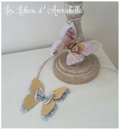 2 étiquettes papillons de papier style Shabby Chic Vintage à suspendre