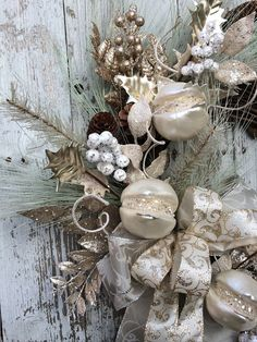 Victorian Christmas Wreath Silver and Gold by marigoldsdesigns