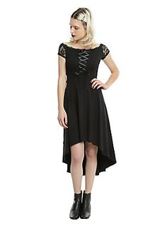 """<div>Take a step back in time when you wear this dress from Royal Bones by Tripp. The Renaissance style dress has a fitted bodice with a black ribbon lace-up detail on front with fancy off-the-shoulder black lace cap sleeves. The empire waistline is accentuated even more by the banded waist and flows perfectly into the hi-low hem skirt.</div><div><ul><li style=""""list-style-position: inside !important; list-style-type: disc !important"""">Main: 95% cotton; 5% spandex</li><li style=""""list-sty..."""