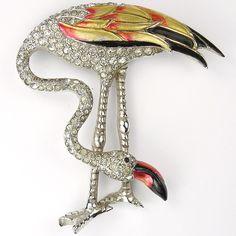 MB Boucher Pave and Metallic Enamel Flamingo Bird Pin