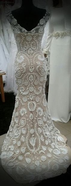 Unique irish crochet wedding dress-custom made by LaimInga on Etsy