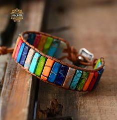 Chakra Bracelet Jewelry Handmade Multi Color Natural Stone Tube Beads Leather Wrap Bracelet Couples Bracelets Creative Gifts Super Fast Delivery: 5 to 8 day Chakra Armband, Bracelet Chakra, Chakra Jewelry, Yoga Bracelet, Bracelets Wrap En Cuir, Bracelet Cuir, Ankle Bracelets, Handmade Bracelets, Beaded Bracelets