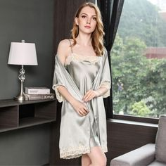 19 Momme Short Sleeved Robe Nightgown Robe Set Satin Nightie fb6332875