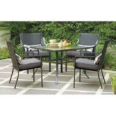 Outdoor Square 5-Piece Patio Dining Set Grey with Leaves Seats 4 #Mainstays