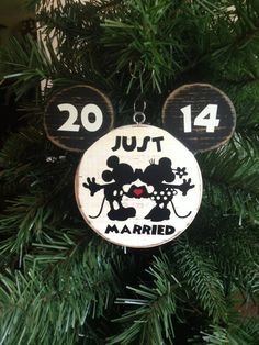 Mr. and Mrs. Mickey Minnie Bride Groom Disney Wedding Christmas Wood Ornament Hand Painted Disney Wedding Distressed Just Married Gift on Etsy, $16.50
