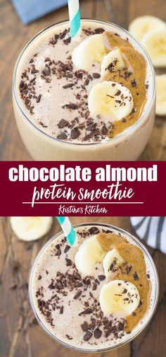Healthy Chocolate Almond Protein Smoothie made with cocoa powder, almond butter and banana. Made without powder, great for breakfast or snacks. One of our favorite smoothie recipes, this easy smoothie tastes like dessert! #smoothies #smoothierecipes Protein Smoothie Recipes, Protein Powder Recipes, Easy Smoothies, Fruit Smoothies, Chocolate Protein Smoothie, Protein Snacks, Smoothie With Protein Powder, Breakfast Protein Smoothie, Cocoa Powder Recipes