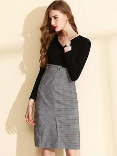 Buy Fashion Fake Two Piece High Waist Plaid Stitching Long Sleeve Knit One-Step Dress, Fashion Designed Fashion Fake Two Piece High Waist Plaid Stitching Long Sleeve Knit One-Step Dress with High Quality and Low Price.