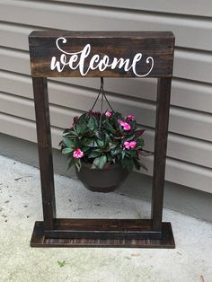 Decorative hanging basket stand. (Welcome sign optional) available in many colors and sizes.