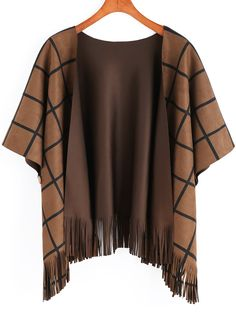 Brown Plaid Tassel Cape