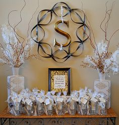 """The party favors were glass mugs from the Dollar tree filled with a scrumptious recipe for Hot Chocolate and a wooden spoon dipped in chocolate! (Same wooden spoons from Garnish with some added glam and bedazzle!) The tag reads, """"May every sip bring you joy and remind you to pray for the """"Smith"""" little boy""""."""""""