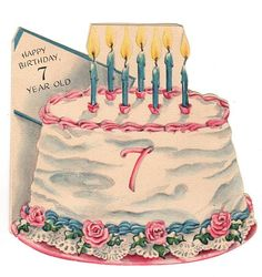 Vintage 1940s Hallmark Childrens 7th Birthday Greeting Card Decorated Cake with Lit Candles