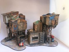 Necromunda terrain scratch builds - Painting Little Men Game Terrain, 40k Terrain, Wargaming Terrain, Fallout 4 Settlement Ideas, Tabletop, Warhammer Terrain, Anime City, Cardboard Art, Environment Concept