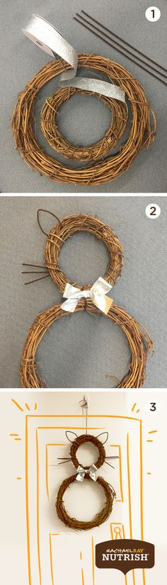 Let the neighbors know you're a cat-friendly house with this holiday cat wreath.  Supplies you'll need: Two wicker wreaths of different sizes, ribbon, pipe cleaners  Step 1: Attach the two wreaths together with a pipe cleaner. Step 2: Create whiskers and ears out of the remaining pipe cleaners. Step 3: Use a ribbon to create an adorable bow. Step 4: Display on your door for all to see.