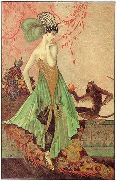 Art Deco postcard (1920s) illustrated by M. Montedoro.
