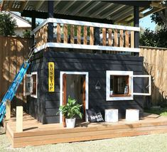 The ultimate playhouse Backyard Playhouse, Build A Playhouse, Backyard Playground, Backyard For Kids, Kids Cubby Houses, Play Houses, Kids Play Spaces, Small Apartment Decorating, Dream Home Design