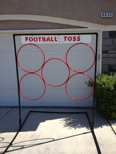 Make with string and hula-hoop and tie from trees Football Toss school carnival game. Frame made out of pvc pipe and the rings are hoola hoops zip tied to frame. The kids loved it! School Carnival Games, Carnival Birthday Parties, Carnival Ideas, Church Carnival Games, Carnival Booths, Halloween Carnival Games, Carnival Activities, Carnival Games For Kids, Camp Carnival