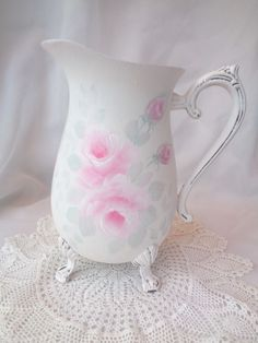 HAND PAINTED ROSE PITCHER hp chic shabby vintage cottage farmhouse country pink #VintageSilverPlate