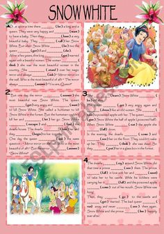 Snow White worksheet - Free ESL printable worksheets made by teachers English Story, Kids English, English Reading, Learn English, English Class, Teaching English, Comprehension Exercises, Reading Comprehension, Simple Stories For Kids
