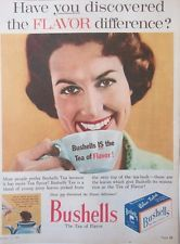 """Bushells Blue Label Tea print ad """"Have you discovered the Flavor difference"""" depicts woman in housedress drinking a cup of tea, 1961, Australia"""