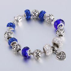 Pandora bracelet pandora charm European charm bracelet silver plated with the beads and hearth theme Love Charm