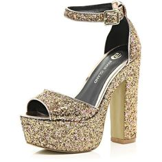River Island Gold glitter peep toe platform sandals (44 AUD) ❤ liked on Polyvore featuring shoes, sandals, heels, sale, ankle wrap sandals, gold sandals, platform heel sandals, high heel shoes and gold platform sandals