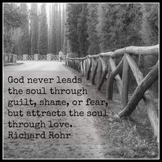 God never leads the soul through guilt, shame, or fear, but attracts the soul through love. Richard Rohr @oracle_spirit