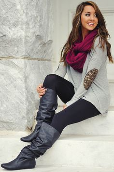 Sequined Elbow Patch Hi-Lo Tunic Gray